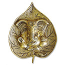 Brass Ganesh on Bodhi leaf