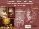 Celebrating Maha Shivaratri with World Class Music & Ethnic Nepalese Food at Kathmandu Boutique on February 20th from 8 ~ 11pm Please buy your tickets now to reserve your space.  OM NAMAH SHIVAYA...