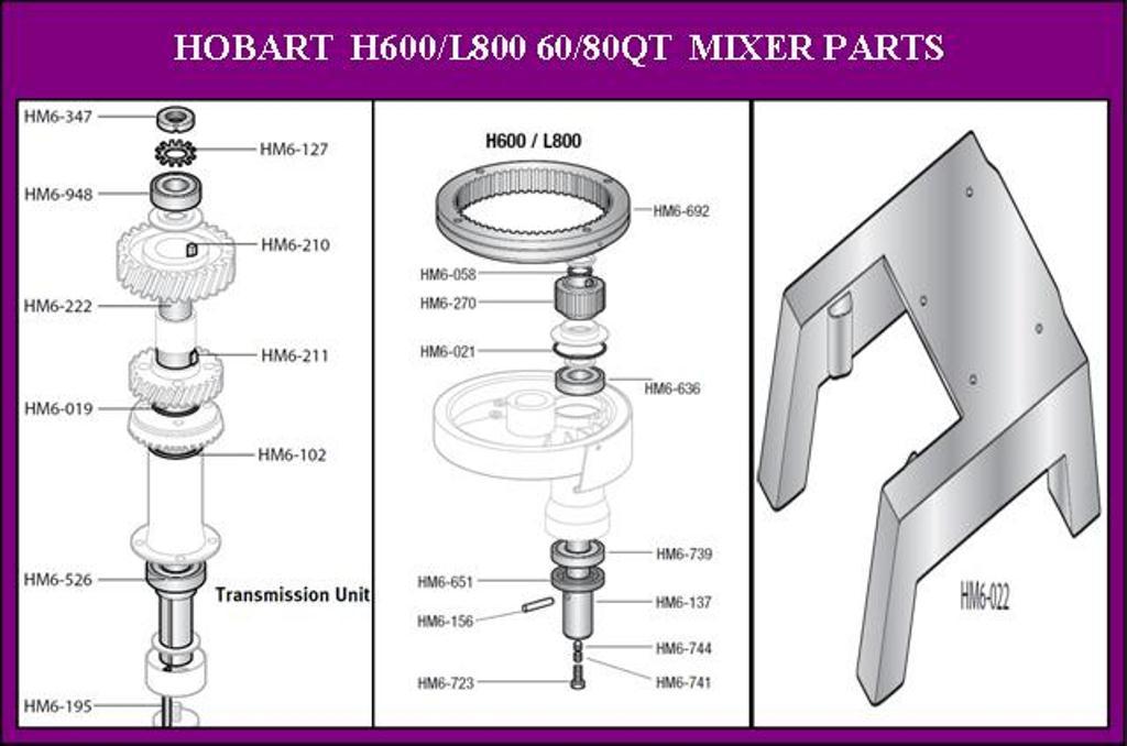 hobart 60qt h600 mixer parts and accessories. Black Bedroom Furniture Sets. Home Design Ideas