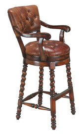 Accessories Abroad Swivel Leather Bar Stool with Arms