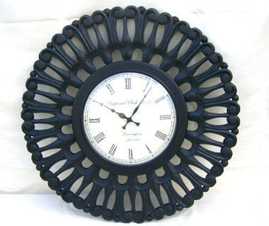Accessories Abroad Round Wood Carved Clock