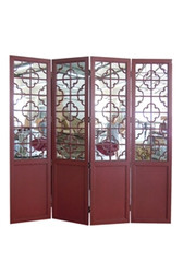 Accessories Abroad Red 4 Panel Mirrored Screen
