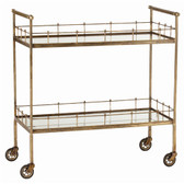 Arteriors Lisbon Vintage Brass Glass Bar Cart