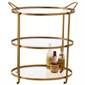 Arteriors Connaught Antique Brass Glass Bar Cart