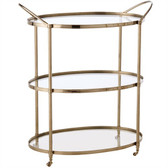 Arteriors Connaught Polished Nickel Glass Bar Cart