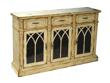 Accessories Abroad Distressed White Three Door Buffet