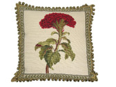Linni Sisters Red Flower Needlepoint Pillow I