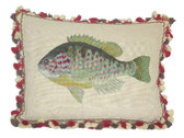 Linni Sisters Green Fish Needlepoint Pillow