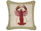 Linni Sisters Lobster Needlepoint Pillow