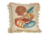 Linni Sisters Shells Needlepoint Pillow II