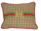 Linni Sisters Brown Check Needlepoint Pillow