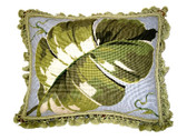 Linni Sisters Large Leaf Needlepoint Pillow