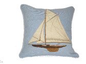 Linni Sisters Sailboat Needlepoint Pillow I