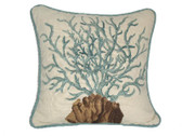 Linni Sisters Blue Coral Needlepoint Pillow II