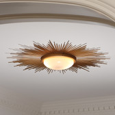 "Global Views Sunburst Cieling Light Fixture Gold 41.75"" diameter"