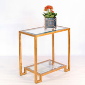 Worlds Away Domino Table in Gold Leaf with Clear Glass Shelves