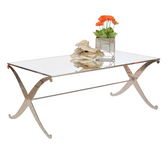 Worlds Away Klysmos Coffee Table With Plain Mirror Top - Nickel Plated