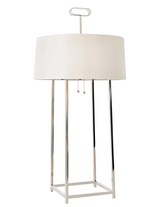 Worlds Away Mondo Lamp in Nickel Plate with Cream Shade