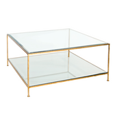 Worlds Away Quadro Square Coffee Table with Beveled Glass - Hammered Gold Leaf