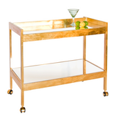 Worlds Away Bar Cart in Gold Leaf