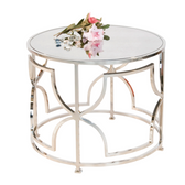 Worlds Away Tess Cocktail Table in Nickel Plate with Antique Mirror Top