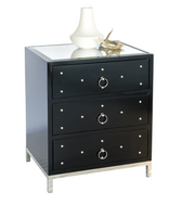 Worlds Away Studly Nightstand - Black Lacquer