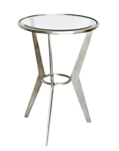 Worlds Away Wilma Retro Round Silver Leaf Side Table