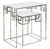 Worlds Away Nesting Tables in Nickel Plate