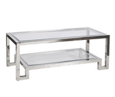 Worlds Away Winston Nickel Plated Coffee Table