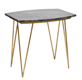 Worlds Away Suzy Gold Leafed Side Table with Black Marble Top