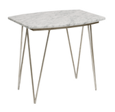 Worlds Away Suzy Silver Leafed Side Table with White Marble Top