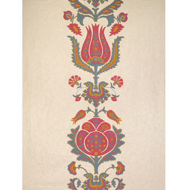 """BR-800052 - M12  THE FLOWERS OF JAMAKHANA - TEA ROSE/STONE BLUE  Upholstery  Multi  Red  Blue  Crewel  Embroidery  Floral Large (27 Inch)  Brunschwig & Fils  77% LINEN 23% ACRYLIC   54"""" (137.2 cm) Width  65"""" (165.1 cm) Vertical Repeat  54"""" (137.2 cm) Horizontal Repeat  India  Exclusive"""