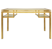 Worlds Away Gold Leaf And Beveled Glass Desk