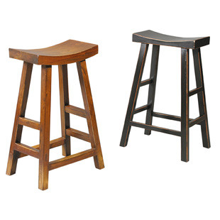 Crescent Bar Stool, finishes available are Brown Birch or Oak or Gloss Black