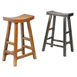 Crescent Counter Stool, Brown Birch or Oak finish or Gloss Black finish