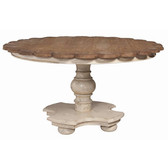 "Crossroads Rosa table base with Natural Aged Stain on scalloped table top. 30"" High 56"" round"