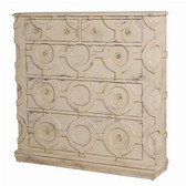 "Euro Market Lavender Grey finish on wall chest accented with hand-carved decorative ring design. Finished flush designed hardware. 48"" High 48"" Wide 12.25"" Deep"