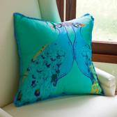 Global Views Bassett Hall Aqua Peacock Pillow