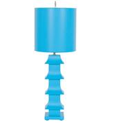 Worlds Away Turquoise Pagoda Lamp