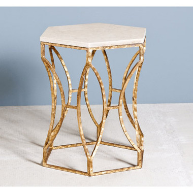 """Roja Hexagonal Side Table Item Number:   128066  Dimensions:   23""""h x 20"""" x 20""""  Unit:   Each  Material:   iron/ marble  Color:   antique gold leaf/ cream"""