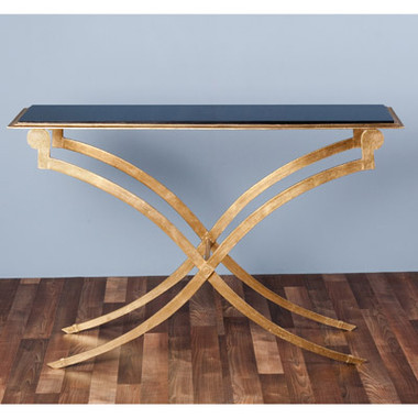 """Maybeck Console Item Number:   135026  Dimensions:   35""""h x 53"""" x 16""""  Unit:   Each  Material:   iron/ marble  Color:   antique gold leaf/ black"""