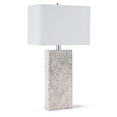 Platinum Table Lamp  Height: 29 Width: 16 Depth: 10 Shade: 16 x 10; 16 x 10; 10 Wattage: 3-Way 100 Watt Max Bulb Qty: 1 Bulb Type: A Type Medium Base (E26) Socket: E26 3-Way Cast Turn Knob Wiring Type: Standard Cord: 8 feet Material: Resin