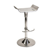 "Dorset Aluminum Bar Stool   SKU:   20019 Dimensions: (33""h x 18""w x 15.5"") Description: Sleek lines and a retro look make the Dorset Aluminum Bar Stool an excellent choice for many of today's homes. With an open back and footrest in a polished metal finish, this kitchen furniture is designed for style"