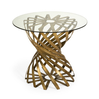 """Marceau Accent Table 26"""" High X 21.5"""" diameter with burnished gold finish on metal  base"""