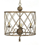 Old World Design Open Basket Weave Drum Chandelier