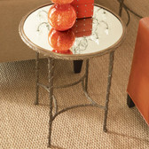 """Global Views Organic Side Table Dimensions: 21""""DIA x 26""""H Antique brass finish, clear mirror top"""