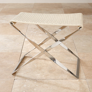 """Global Views Woven Leather Folding Bench--Ivory Dimensions: 24""""L x 18""""W x 17.5""""H This folding stool features woven leather detail as found on designer hand bags and accessories, and a stainless steel base. The bench provides beauty, comfort and portability, making it a functional design accent for any style room."""