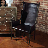 "Global Views Iron & Leather Wing Chair Dimensions: 23.75""W x 46""H x 25.5""D *Oversized Item"