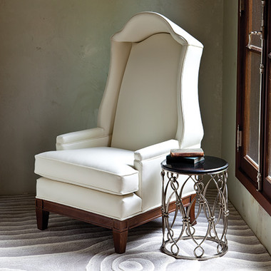"""Global Views Bonnet Chair--Ivory Leather Dimensions: 29""""W x 53.5""""H x 32.5""""D *Oversized Item, White Glove Delivery, Crated"""