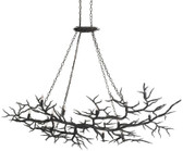 Currey & Co Rainforest Chandelier Dimensions: 74w x 47d x 78h Number of lights: 14 Tree branches are horizontally hung from the ceiling and lit with 14 candle lights. Actually, this hand forged fixture is designed to offer a unique perspective of our metal working craftsmanship.